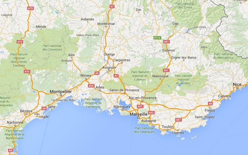 map sud france